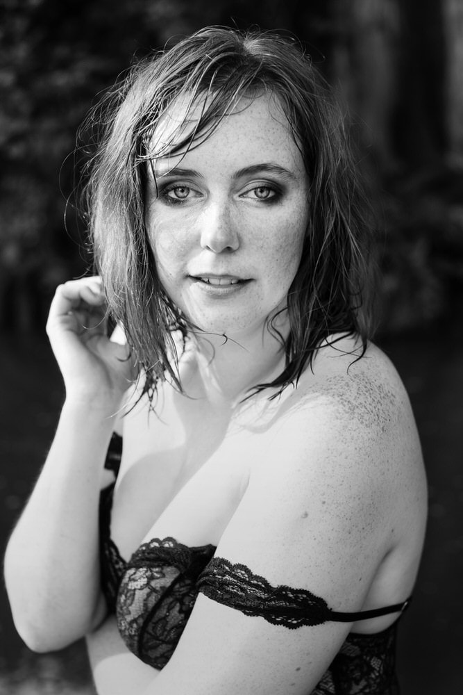 Outdoor boudoir photo at Krause Springs in  Austin, Texas